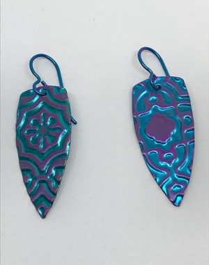Embossed Niobium Shield Earrings