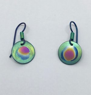 Nebula Niobium Circle Earrings