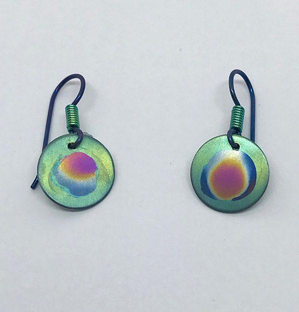 Nebula Niobium Circle Earrings