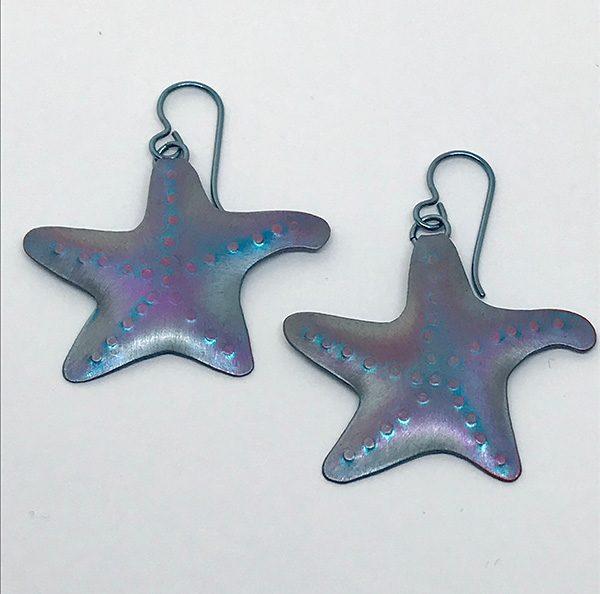 Niobium Starfish Earrings